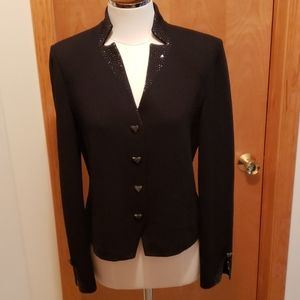 St.John Evening Knit Blazer w/Rhinestone ❤ buttons